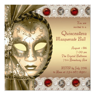 Elegant Red and Gold Masquerade Party Card