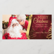 Elegant Red And Gold Merry Christmas Photocard Holiday Card