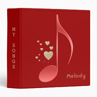Elegant Red and Gold Music Notes Hearts with Name 3 Ring Binder