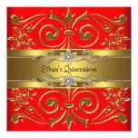 Elegant Red and Gold Quinceanera Invitations