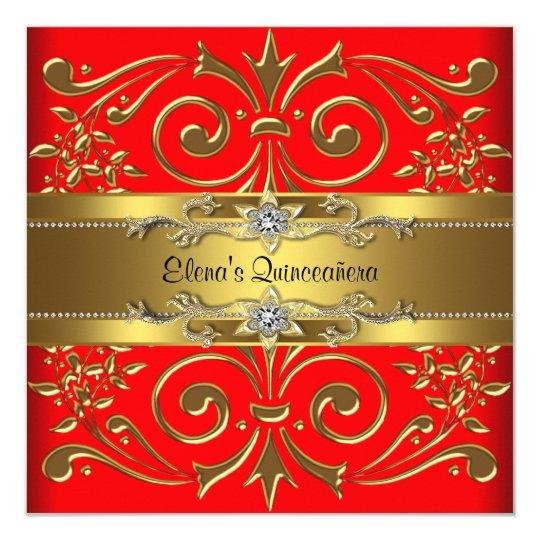 Elegant Red and Gold Quinceanera Invitations | Zazzle.com
