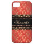 Elegant Red and Gold Shimmer Damask Custom Name iPhone 5 Cover