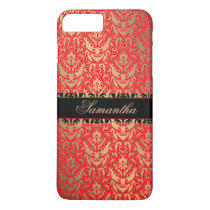 Elegant Red and Gold Shimmer Damask Custom Name iPhone 7 Plus Case