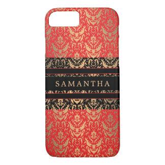 Elegant Red and Gold Shimmer Damask Custom Name iPhone 8/7 Case