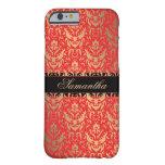 Elegant Red and Gold Shimmer Damask Custom Name iPhone 6 Case