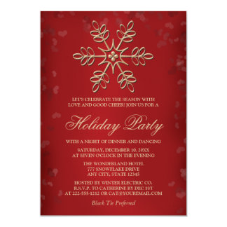 Elegant Red and Gold Snowflake Holiday Party Card