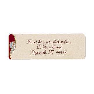 Elegant Red and Gold Sparkle Address Label
