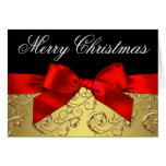 Elegant Red and Gold Swirl Christmas Cards