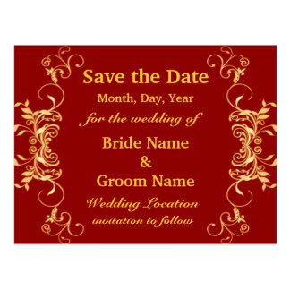 Elegant Red And Gold Swirls Save The Date Postcard