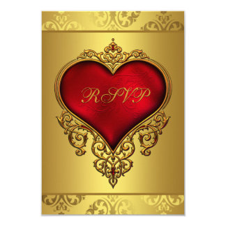 Elegant Red and Gold Wedding RSVP Card