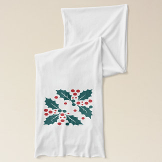 Elegant Red and Green Christmas Holly Branches Scarf