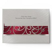 Elegant Red and Silver Filigree Envelope