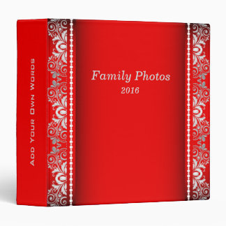 Elegant Red and Silver Lace Binder