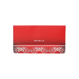 Elegant Red and Silver Lace Checkbook Cover
