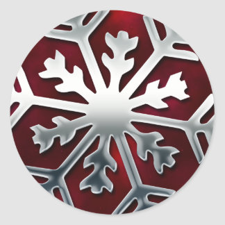Elegant Red and Silver Snowflake Sticker