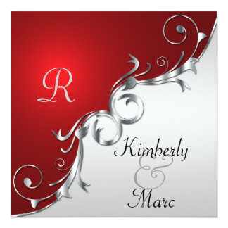 Elegant Red and Silver Wedding Invitation