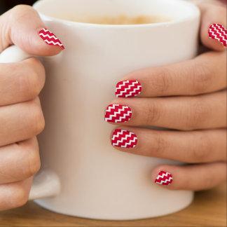 elegant red and white chevrons fashion nails minx nail wraps