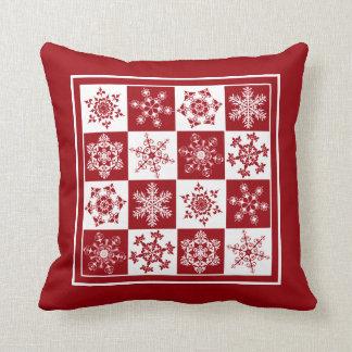 Elegant Red and White Christmas Snowflake Pattern Pillows