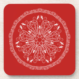Elegant Red and White Floral Christmas Coaster
