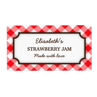 Elegant red and white gingham canning jar labels