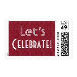 Elegant Red and White Let's Celebrate Party C004 Postage Stamps