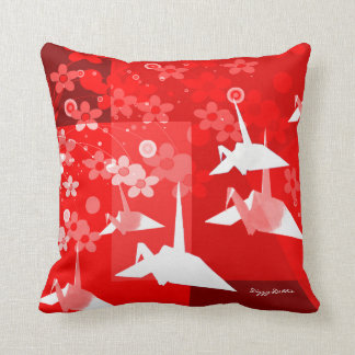 Elegant Red and White Origami Artwork Pillow