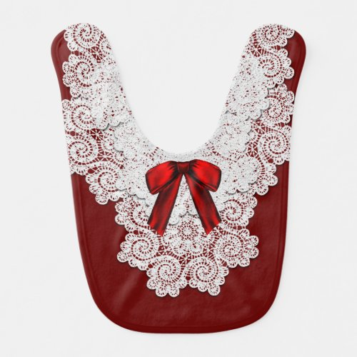 Elegant Red and White Special Occasion Baby Bib