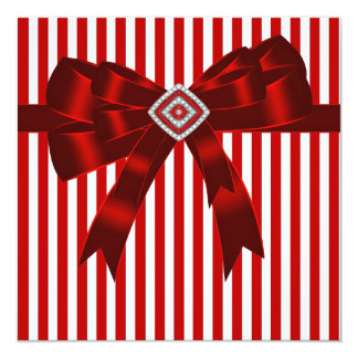 Elegant Red and White Stripe Party Template Card