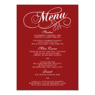 Elegant Red And White Wedding Menu Templates Card