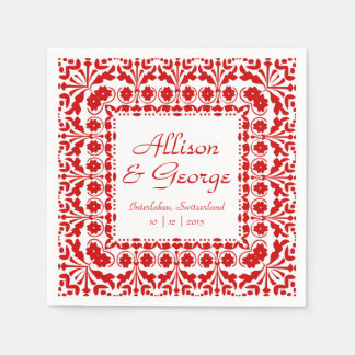 Elegant Red and White Wedding Reception Disposable Napkin