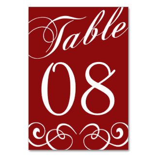 Elegant Red And White Wedding Table Number Card