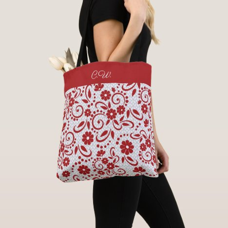 Elegant red and white whimsical flowers tote bag