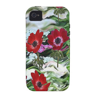 Elegant Red Anemone Flower Display on gifts fun iPhone 4 Cover