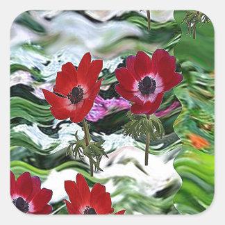 Elegant Red Anemone Flower Display on gifts fun Square Sticker