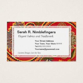Elegant Red Antique Crewel Embroidery Design Business Card