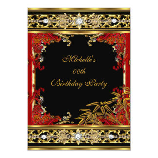 Elegant Red Asian Gold Bamboo Birthday Party Card