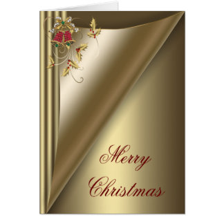 Elegant Red Bells and Gold Holly Christmas Card
