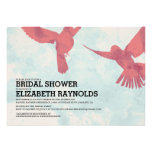 Elegant Red Bird Bridal Shower Invitations Invitation
