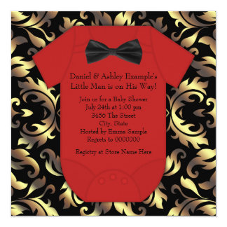 Elegant Red Black and Gold Baby Boy Shower Card