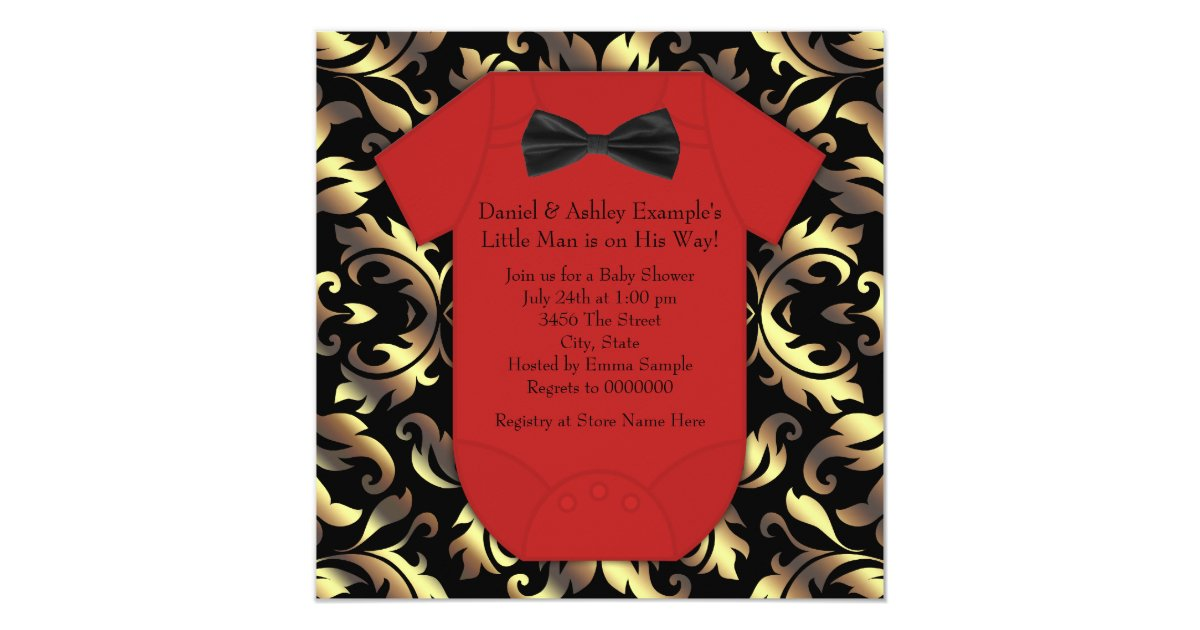 Elegant Red Black and Gold Baby Boy Shower Invitation   Zazzle.com