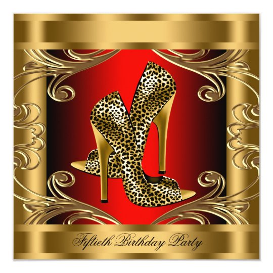 Elegant Red Black and Gold Birthday Party Card