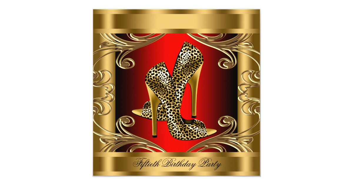 Elegant Red Black And Gold Birthday Party Card Zazzle Com