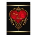 Elegant Red Black and Gold Wedding Custom Invitations
