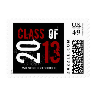 Elegant red, black and white Class of 2013 Stamp