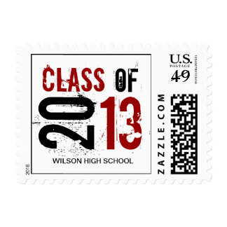 Elegant red, black and white Class of 2013 Postage