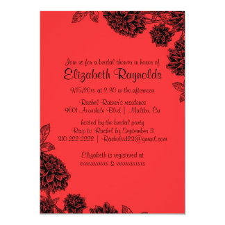 Elegant Red & Black Bridal Shower Invitations Personalized Announcement