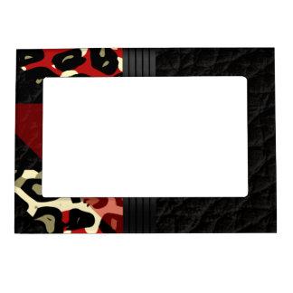 Elegant Red Black Cheetah Magnetic Frame