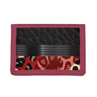 Elegant Red Black Cheetah Trifold Wallets