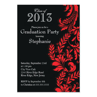 Elegant Red Black Class of 2013 Graduation Party Card