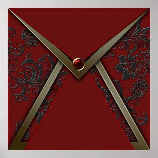 Elegant Red Black Damask Gold Event Poster